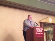 Nathan Phelps speaking at the TransKansas banquet Saturday Sept. 7.