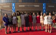 Members of the Kansas University volleyball team pose on the red carpet outside the Lied Center Sunday before the Rock Chalk Choice Awards.