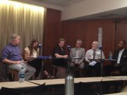 A panel discussion on poverty in the United States, held at the Kansas Union Alderson Room. Speakers from left to right: Mark Rank, Krissy Clark, Deb Adams, William Emmons, David Smith and Derrick Darby.