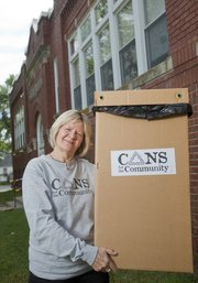 Linda Klinker, Cans for the Community Chair, works behind the scenes with non-profit organization, providing financial support to other non-profit organizations in Douglas County, Kansas and surrounding communities by recycling aluminum beverage containers.