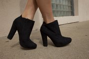 Faux suede ankle boots: Qupid, $35