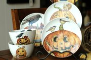 These jack-o'-lantern dishes are found at Winfield House Home Furnishings, 647 Massachusetts St.
