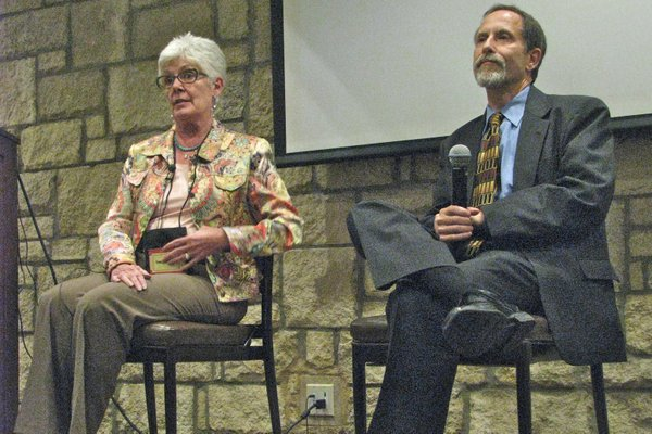 Kansas Insurance Commissioner Sandy Praeger and Sheldon Weisgrau, director of the Health Reform Resource Project, spoke at the annual conference of Kansas Association for the Medically Underserved on Thursday in Lawrence. Both have been touring the state explaining the ramifications of the Affordable Care Act.