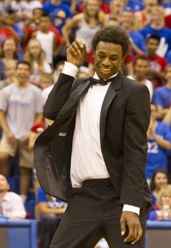 Andrew Wiggins shows off some dance moves during Late Night in the Phog Friday at Allen Fieldhouse.