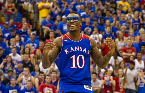Naadir Tharpe  shows off some dance moves during Late Night in the Phog Friday at Allen Fieldhouse.
