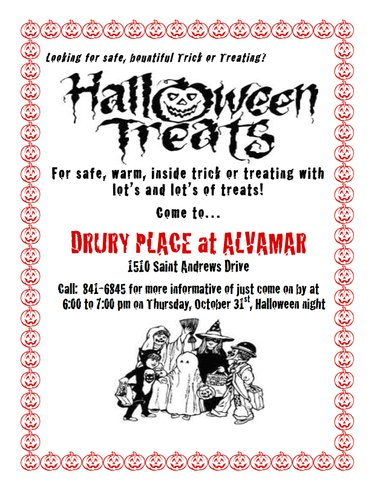 "Come inside and ""Trick or Treat"" with us at Drury Place at Alvamar!"
