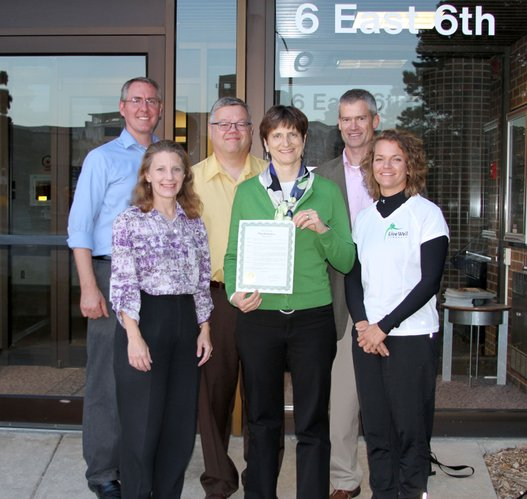 "LiveWell Lawrence members were all smiles after Lawrence mayor Michael Dever proclaimed Oct. 13-19 as ""LiveWell Week."" Members are, from left, Charlie Bryan, Cindy Johnson, Dan Partridge, Marilyn Hull, Chris Tilden and Nikki White. They attended Tuesday night's City Commission meeting."