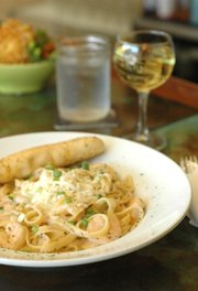 The Shrimp Fettuccine in Lobster Sauce at Basil Leaf Cafe, 616 W. Ninth St.