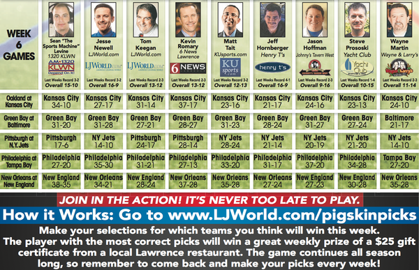 Week 6 picks