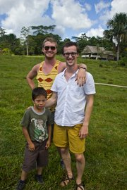 CGCHealth member Michael Tetwiler and founder Chase Hamilton stand with Jearim, a young boy from the Santo Tomas community in Peru. CGCHealth is a non-profit organization that works to provide access to clean water and medical attention to impoverished areas in the Amazon.