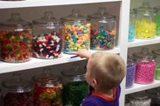 The Kid browses the enormous selection of candy at Mass Street Sweet Shoppe, 727 Massachusetts St.