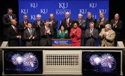 Neeli Bendapudi, dean of the Kansas University School of Business, is flanked by Gov. Sam Brownback, KU Chancellor Bernadette Gray-Little, students, donors, KU faculty members and other dignitaries as they celebrate the ceremonial groundbreaking for the new School of Business on Friday, Oct. 18, 2013, at the Lied Center.