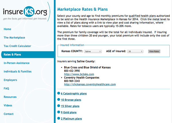 A new calculator was launched today that gives Kansans a look at rates and plans from the health insurance marketplace.