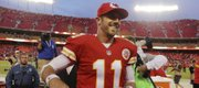 Chiefs quarterback Alex Smith (11) smiles as he leaves the field following a 17-16 victory over Houston on Sunday in Kansas City, Mo.