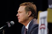 Kansas University coach Bill Self speaks during Big 12 Men's Basketball Media Day, Tuesday, Oct. 22, 2013, at Sprint Center in Kansas City, Mo.