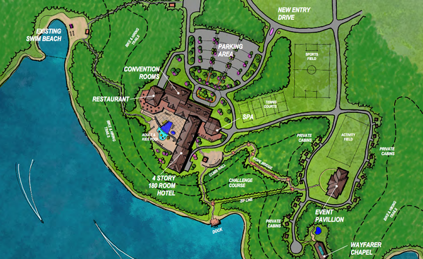 A concept plan submitted in 2013 for a proposed resort at Clinton Lake State Park. - Courtesy State of Kansas