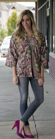 Emily Kennedy shows off a kimono-inspired, lightweight jacket plucked from Plato's Closet.