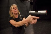 """Horrorshow"" actress Carol Holstead reacts during rehearsal at the EMU Theatre."