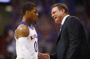 Kansas head coach Bill Self has words with freshman guard Frank Mason during the second half of an exhibition game on Tuesday, Oct. 29, 2013 at Allen Fieldhouse.