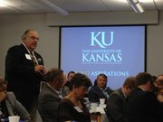 State Sen. Steve Abrams, R-Arkansas City, speaks Wednesday during a meeting between legislators and Kansas University officials on budget matters. The meeting was held at the KU Medical Center.