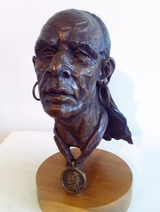 """Makataimeshekiakiah, Black Hawk of the Sauk and Fox,"" a 2008 bronze sculpture by Jim Brothers, is pictured in this file photo. The sculpture&squot;s approximate dimensions are 12 inches high, 8 inches wide and 6 inches deep."