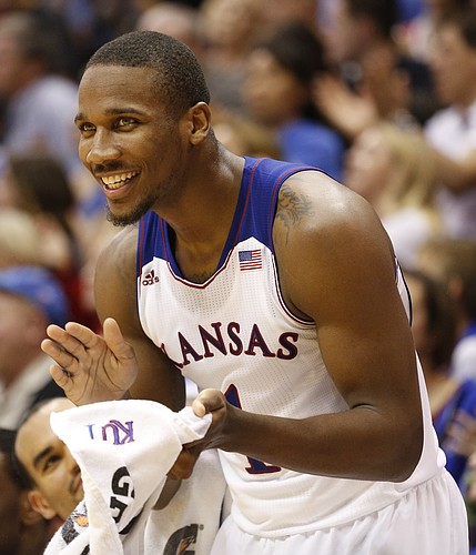 Kansas guard Wayne Selden applauds a bucket and a foul by teammate Jamari Traylor against Fort Hays State during the second half of an exhibition game on Tuesday, Nov. 5, 2013.
