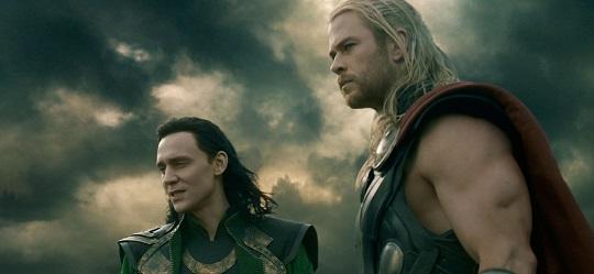 "Chris Hemsworth as Thor and Tom Hiddleston as Loki in ""Thor: The Dark World."""