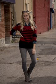 From Envy on Mass Street, the look:   Sweater: $28.98 Chambray shirt: $28.98