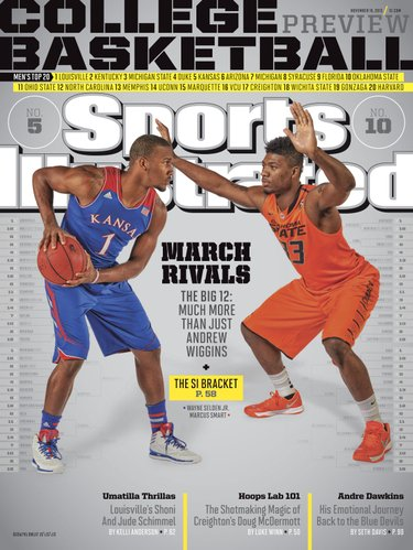 One of four regional covers for Sports Illustrated's 2013-14 college basketball preview issue, the Big 12 version features Kansas University freshman Wayne Selden and Oklahoma State sophomore Marcus Smart.