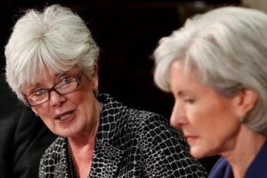 Kansas Insurance Commissioner Sandy Praeger and U.S. HHS Secretary Kathleen Sebelius.