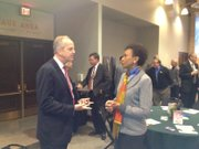 U.S. Sen. Jerry Moran visits with Kansas University Chancellor Bernadette Gray-Little before speaking Friday at a Lawrence Chamber of Commerce breakfast.