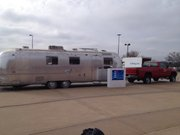Outside the Lied Center, Kansas University's Mobile Collaboration Lab, or MoCoLab. The converted Airstream trailer became the focus of ideas to better Wyandotte County through social entrepreneurship.