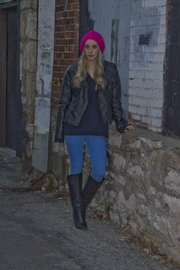 Emily Kennedy wears a leather jacket originally from Forever 21 ($13.50), a sweater from the Gap ($22.50), jeans from H&M ($10) and a beanie ($10). All items were purchased at Arizona Trading Company, 736 Massachusetts St.