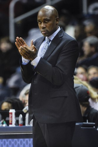 Orlando Magic head coach Jacque Vaughn reacts after a score against the Atlanta Hawks during the first half of an NBA basketball game on Tuesday, Nov. 26, 2013, in Atlanta. (AP Photo/John Amis)