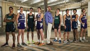 The 2013 Boys All-Area Cross Country team, from left: Luis Murillo, De Soto; George Letner, Baldwin; Ryan Liston, Free State; Dakota Helm, Baldwin; coach Mike Spielman, Baldwin; Max Taulbee, De Soto; Derek Meeks, Mill Valley; Jon Miller, Eudora; and Joe Pierce, Baldwin.