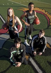 Free State High winter sports athletes include, clockwise from front left, Kyle Yoder (swimming), Scout Wiebe (girls basketball), Reshawn Caro (boys basketball) and Colton Steele (wrestling).