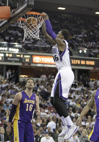 Sacramento Kings guard Ben McLemore, right, stuffs over Los Angeles Lakers Pau Gasol, left, of Spain, during the third18quarter of an NBA basketball game in Sacramento, Calif., Friday, Dec. 6, 2013. The Lakers won 106-100.(AP Photo/Rich Pedroncelli)