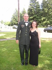 Jason and Jennifer Thornton dressed for a military ball in 2004, the year after they got married.