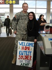 Jason Thornton and his wife, Jennifer Thornton, in 2006. Jason had just arrived home for two weeks of R&R during his second deployment to Iraq.