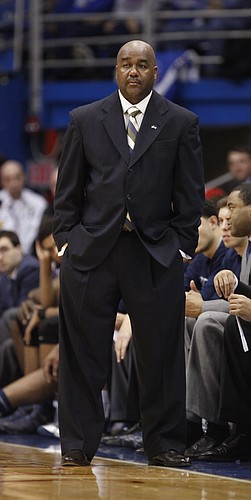 Georgetown head coach John Thompson III watches in the final minutes on Saturday, Dec. 21, 2013 at Allen Fieldhouse.