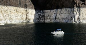 The white sides of Lake Mead show how low the reservoir is today.