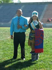 Haskell student Grace Denning, a member of the Tlingit tribe from Alaska, wears traditional regalia during Haskell's homecoming 2013.