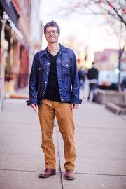 Matthew Smith —Clothing details: Frye boots, $185; Corduroy pants, $70, Lands' End; T-shirt, $2, Kohl's; Levi's jacket, $100.