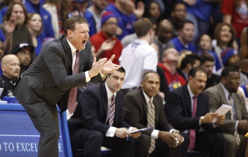 Kansas head coach Bill Self encourages his defense against Toledo during the first half on Monday, Dec. 30, 2013 at Allen Fieldhouse.
