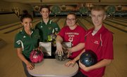 From left, Free State's Brianne Martin and Matthew Eagle and Lawrence High's Kierstan Warren and Carter Gehrke are ready for the 2014 high school bowling season.