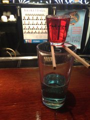 The Hawk Bomb set up before the shot glass is dropped into the larger glass, at Yokohama Sushi, 811 New Hampshire St.