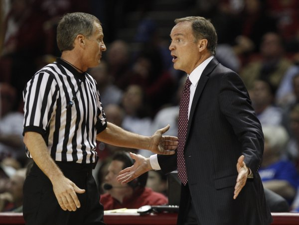 Oklahoma head coach Lon Kruger pleads to an official during the first half on Wednesday, Jan. 8, 2013 at Lloyd Noble Center in Norman, Oklahoma.