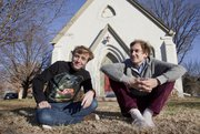 Matt Hislope of Austin, left, and Josh Meyer of Los Angeles, pictured in this 2013 file photo, are the current residents of the renovated church at 1000 New York St. Their year-long pop-up artist colony, which they call the Pilot Balloon Church-House, has attracted visiting artists from across the country.