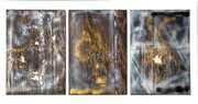 Untitled Triptych (three sheets of plywood), by William S. Burroughs, spray paint and shotgun blasts on plywood, 22 inches x 15 inches each, 1993