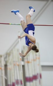 Kansas University's Natalia Bartnovskaya makes an attempt during the women's pole vault event of the Bill Easton Classic on Friday at Anschutz Sports Pavilion.